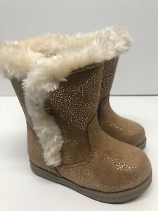 NEW Cat & Jack Girls Toddlers Beige Snow Glitter Fur Lined Boots 6