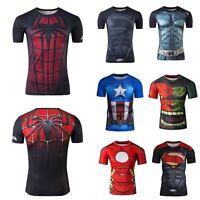 Mens t shirt compression top gym superhero avengers marvel muscle superman