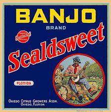 Oviedo Florida Banjo Brand Sealdsweet Orange Citrus Fruit Crate Label Art Print