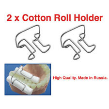 Lot x 2 cotton roll metal holder fixation of rolls dental procedures clip