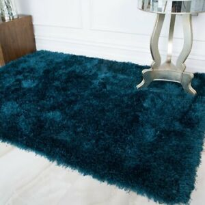 Quality Teal Blue Shaggy Rugs Thick Deep Soft Non Shed Living Room Area Rug