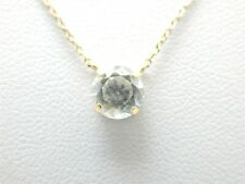 """QVC 14k Yellow Gold 1 Carat Round Diamonque CZ on 18 3/4"""" Fine Chain Necklace"""