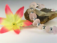 Frosted Pink SEA GLASS Beaded Silver Stretch Bracelet USA HANDMADE