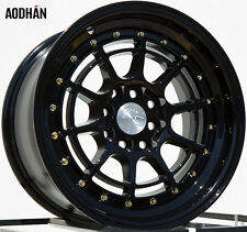 Aodhan Ah04 15X8 4X100/114.3 Et20 Black Rims Fits Civic Miata Integra Wide Body