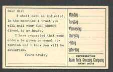 Ca 1908 PC ST LOUIS MO ADAM ROTH GROCERY CO SALESMANS CALLING CARD, UNPOSTED