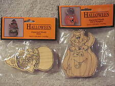"""Halloween Unpainted Woody Witch and Woody Cat in Pumpkin 4"""" tall Wang's Int'l"""