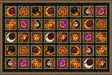 "CELESTIAL SQUARES Dan Morris Sun/Moon Tapestry/Wall Hanging/Bedspread 60""x90"""