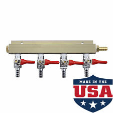 "4 Way 5/16"" Barb CO2 Gas Distribution Manifold Splitter Beer Kegerator Homebrew"