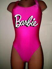 Vtg Satin Shiny Spandex Nylon Barbie Pink Lame Mattel Leotard M