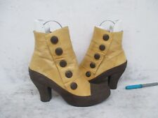 Miz Mooz Adrien Tan Brown Leather High Heel Zip Ankle Boots Size 7