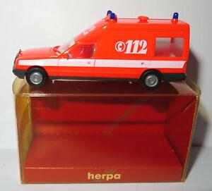 HERPA HO 1/87 MERCEDES MIESEN BONNA 124 AMBULANCE EMERGENCY 112 POMPIERS #4113