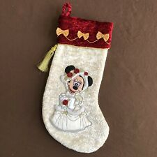 Rare Disney Parks Minnie Mouse White Victorian Christmas Holiday Stocking