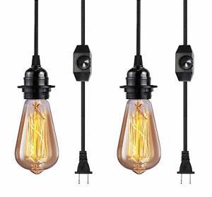 Vintage Plug In Hanging Light Kit, Elibbren Industrial Style Pendant Lighting E2
