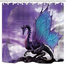 Medieval Fantasy Theme Purple Dragon Shower Curtain 90X180CM Bath Curtain & Hook