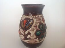 Vintage Scheurich Keramik Bay Vase in deep rich brown and decorated with flowers