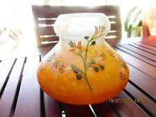 LEGRAS:vase rond,série Printania marbré jaune,orange,bleu,décor émaillé