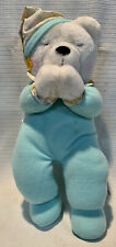 AVON WHITE BEAR SING ALONG PRAYING TEDDY BEAR KIDS GREEN OUTFIT EYES CLOSED