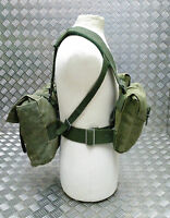 Genuine Vintage Army Webbing Set / Battle Pack Belt And Pouches Heavy Canvas