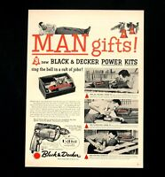 1957 Black & Decker Tool Advertisement Man Gifts Saw Drill Vintage Print AD
