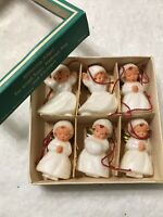(6) Vintage West Germany Mini Angel Ornaments NOS IOB *Adorable*