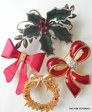 (4)pc LOT Vintage to MODERN ruby RED RIBBON & HOLIDAY HOLLY pin collection A9