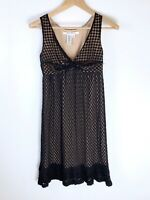 Max Studio Empire Waist Dress Sz Small Black Swiss Dot Nude Ruffles Sleeveless S