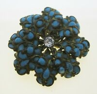 Antique Victorian Gilded Turquoise Enamel & Rhinestone Flower Pin Brooch Ladies