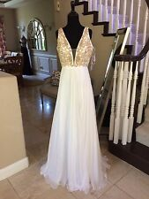 $598 NWT WHITE/GOLD JOVANI PROM/PAGEANT/FORMAL DRESS/GOWN #24978 SIZE 6 8