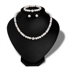 Silver Beautiful Pearl Choker Crystal Necklace Bracelet Earrings Jewelry Set