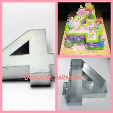 "Large Number 4 four Cake Tin pan Mould Birthday Anniversary Measure 14""x10""x3"""