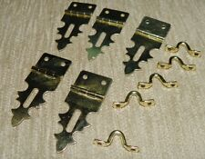 "Brass 3/4"" x 1-7/8"" Decorative Hasp & Loop - No Screws - Pack of 5 Hasps & Loops"