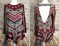 Free People Womens XS Boho Chic Long Sleeve Maroon Skirted Shirt Blouse Rayon Bl