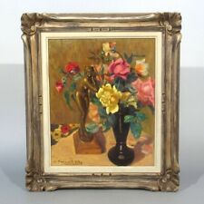 Micheline Cannaut-Utz, Vintage French Oil Painting, Bouquet of Roses, Nude Woman