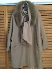 HOODED Real FOX Fur SCARF Cocoon CASHMERE Coat WOOL Cape Bubble JACKET M L XL