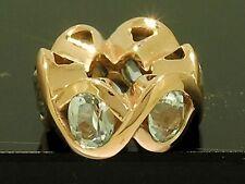 Bd070- GENUINE 9ct Rose Gold NATURAL Topaz Bead Wave Charm