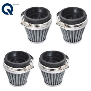 4Pcs Air Filters Cleaner Motorcycle Racer 52mm Inlet Cold Air Intake Tapered NEW