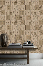 3D Wood Effect Letters & Numbers Wallpaper, Printed on a Heavyweight  Vinyl