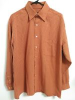 Bugatchi Uomo Mens Size Large Orange Red Plaid Long Sleeve Button Up Dress Shirt