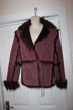 Ladies Betty Jackson Genuine Suede Coat with Faux Fur Trim Size 10 Sheepskin