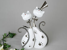 moderne Photophore CHARMANT chats en céramique et métal blanc/argent 29x37 cm