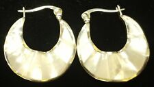 Nature's Jewelry Mother Of Pearl And Silverplated Hoop Earrings