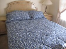 Laura Ashley Blue Polyanthus Primrose Floral King Comforter & 2 King Shams EUC