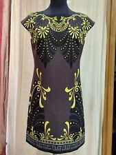NWT VERSACE COLLECTION GRYPHE PRINTED DRESS GREEK AUTH BAROQUE GOLD SS18 M