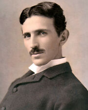 "NIKOLA TESLA ENGINEER INVENTOR ELECTRICITY 11x14"" HAND COLOR TINTED PHOTOGRAPH"