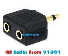 2pc 3.5mm Mono Plug to 2 x 3.5mm Stereo Jack Splitter Adapter