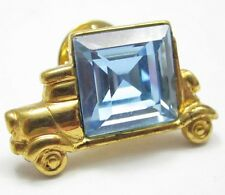 Monet Signed Gold Plated Tie Tack Lapel Hat Pin Truck W/Big Blue Rhinestone G667
