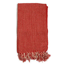 Red Stitched Pattern 100% Cotton Throw (50x60 In) New!