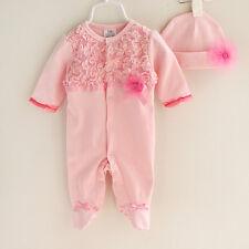 Girl Baby Newborn Flower Hat+Romper Bodysuit Jumpsuit Clothing Sets Outfits 6-9M
