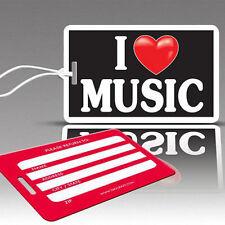 TagCrazy Fun Luggage Tags, I Heart Music, Durable Plastic Loops,1 Pack