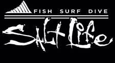 "New Salt Life  ""FISH SURF DIVE"" Car Window Decal Beach Sticker UV Vinyl"